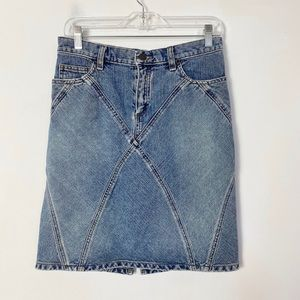 American eagle womens denim stitched blocked skirt